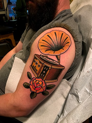 phonograph tattoo by dave wah at stay humble tattoo company in baltimore maryland the best tattoo shop and artist in baltimore maryland