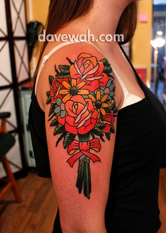 traditional flower tattoo by dave wah at stay humble tattoo company in baltimore maryland the best tattoo shop in baltimore maryland