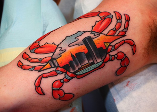 maryland crab tattoo by dave wah at stay humble tattoo company in baltimore maryland
