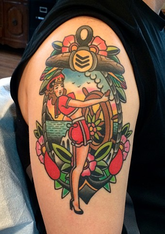 pin up and landscape tattoo by dave wah at stay humble tattoo company in baltimore maryland the best tattoo shop in baltimore maryland