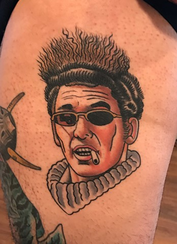 cosmo kramer portrait tattoo by dave wah at stay humble tattoo company in baltimore maryland the best tattoo shop and artist in baltimore maryland