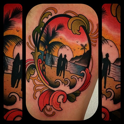 Landscape tattoo by Dave Wah
