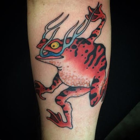 Frog tattoo by Fran Massino