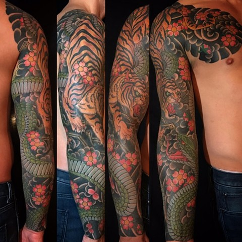Japanese Tattoo Baltimore Maryland Virginia New York Traditional Custom Tiger and snake