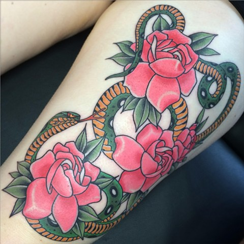 Japanese style snake and Gardenia flower tattoo