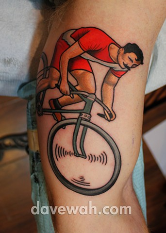 bike tattoo by dave wah at stay humble tattoo company in baltimore maryland
