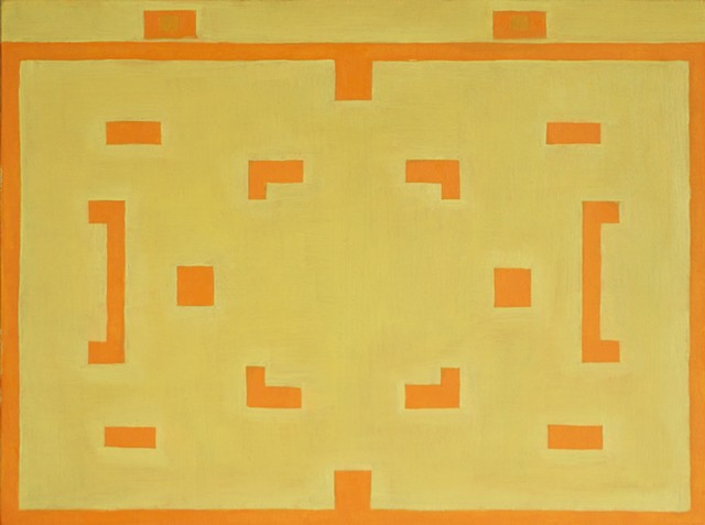 South Carolina artist painting of an Atari game Combat Yellow and Orange entitled Golden Fleece.  Selected by Robert Storr, Yale School of Art. Painting by Clemson graduate Douglas Boyd Johnson.  Oil on Canvas.  Modern or Contemporary art.