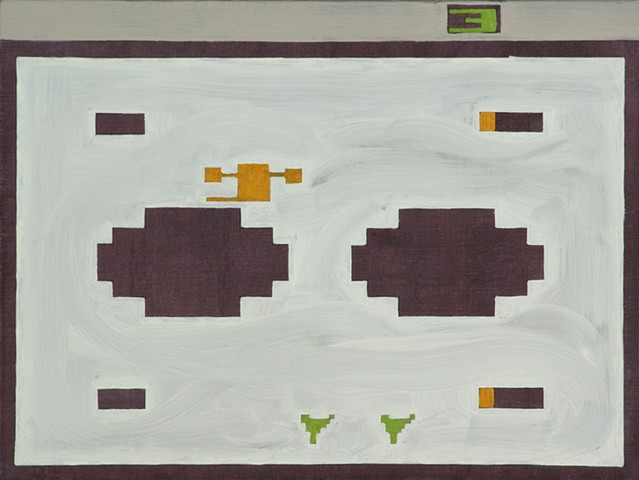 Highly conceptual modern contemporary geometric abstract painting of the Atari game Combat by southern artist Doug Johnson Clemson University.
