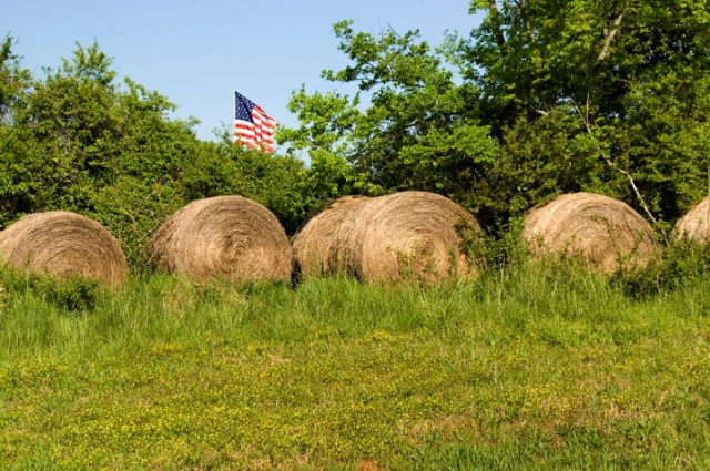 Flag And Hay Bales