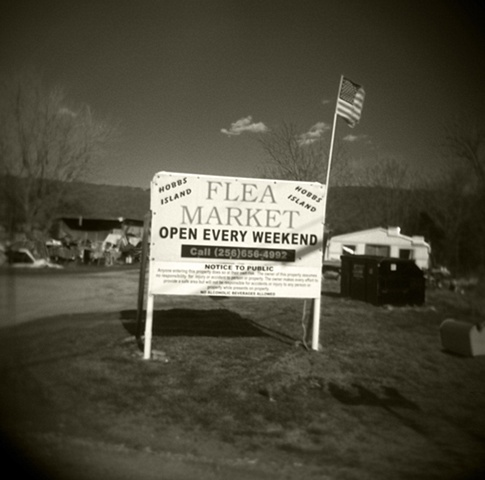 Flea Market Sign With Flag