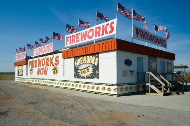 Flags On A Fireworks Stand