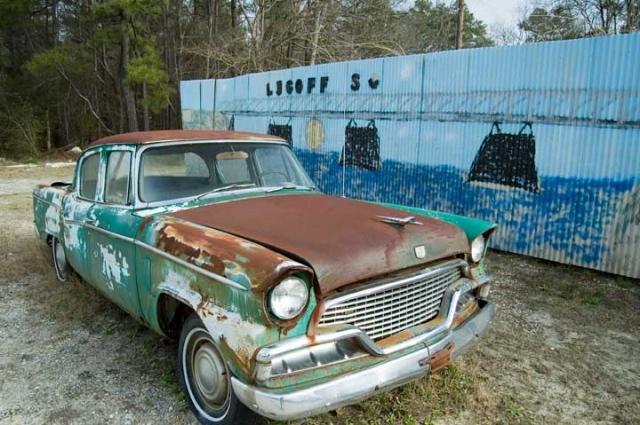 Old Studebaker At Garage