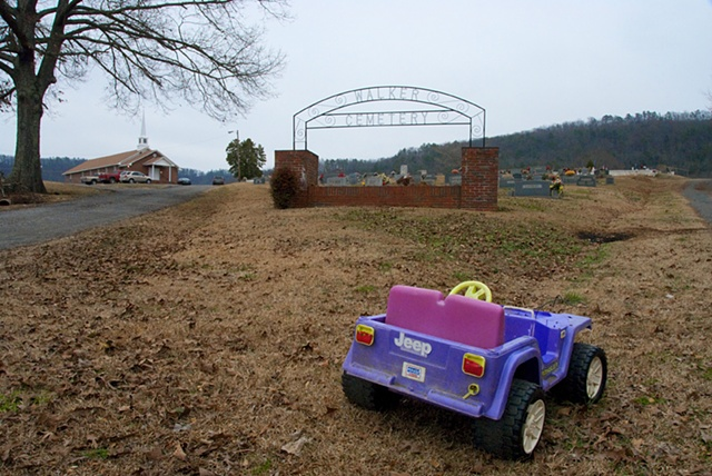 A child's car at the entrance to Walker Cemetery in the Hebron Community of Marshall County, Alabama.