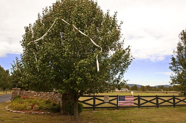 Flag On A Horse Farm Fence