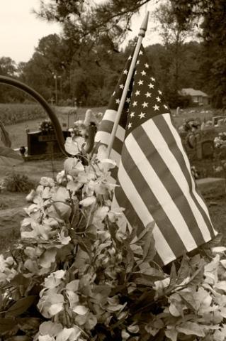 Flag In A Cemetery