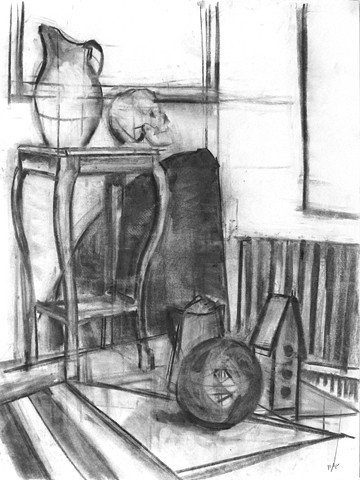 Still life Study with Ball, Skull, and Birdhouse
