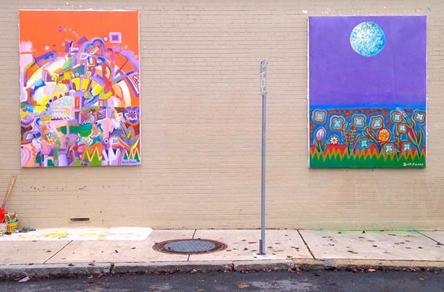 Murals on Bow street, Beverly, MA