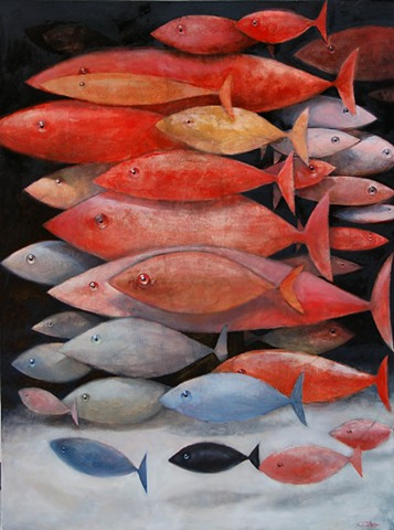 A school of mostly red fish