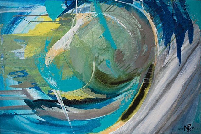 Abstract green blue gold circles swirls expressive