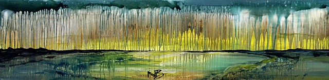 Colourful abstract painting wetlands mountain lake drips