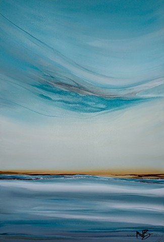 abstract teal turquoise blue gold ocean sea seascape surf art painting on canvas collection gallery