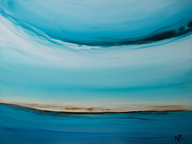 seascape ocean blue teal water artwork abstract soothing calming horizon sea