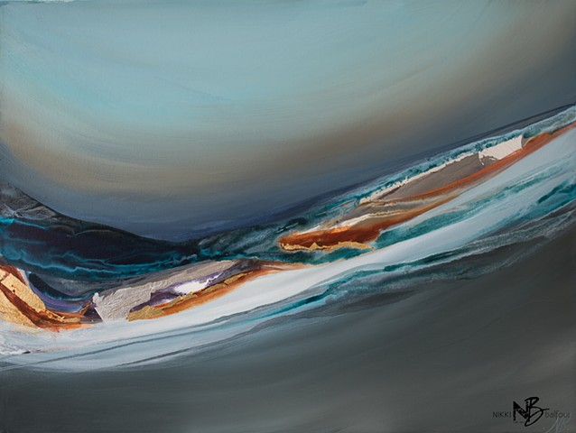 orange gold bold soft horizon grey blues teal flow art painting volcano maui silver