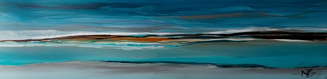 sea seascape ocean water teal turquoise horizontal abstract canvas painting