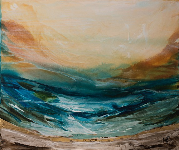 Maui ocean bright colourful abstract waves surf teal mandarin orange gold artwork
