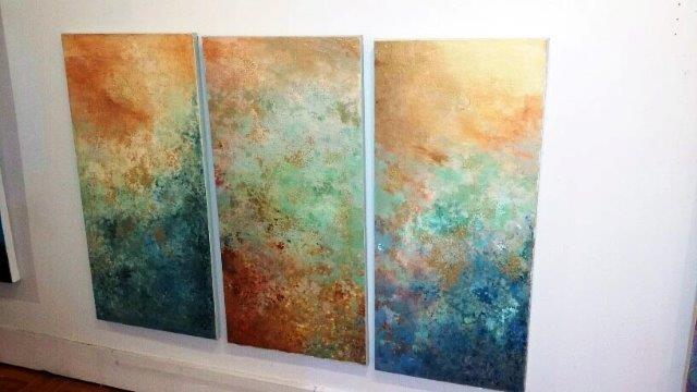 """Opalescent"" Triptych, 2015 Acrylic on Canvas Courtesy of Roberta Zlokower"