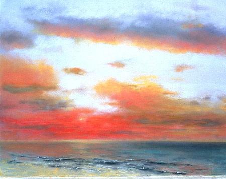 "Crimson Sunset Pastel 21½"" x 27½"""