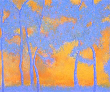 "Blue Trees Pastel 30"" x 35"""