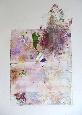 Mariage Frères II  Monoprint 13in x 8in