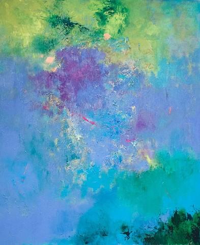 """Caribbean Blue Acrylic on Canvas 34.5"""" x42"""""""
