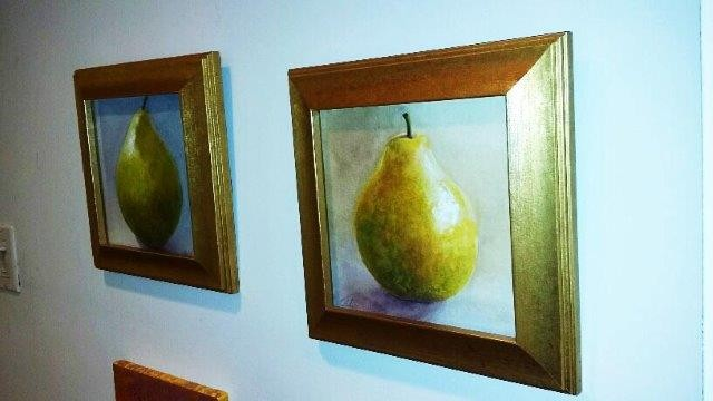 """left, """"Pear I"""", 2014 Watercolor right, """"Pear II"""", 2014 Watercolor Courtesy of Roberta Zlokower"""