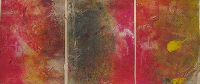 "Aurora Monoprint Triptych 7.5"" x 17.25"""