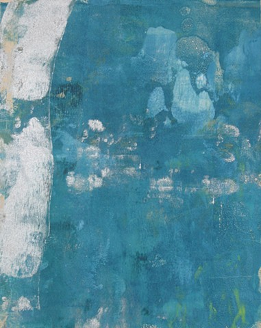 """Cerulean Landscape Monoprint 10"""" x 8"""""""
