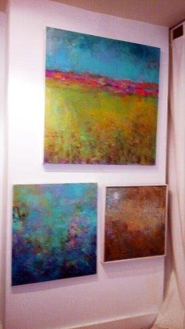 "top, ""Nostalgia"", 2016 Acrylic on Canvas bottom left, ""A Sacred Place"", 2014 Mixed Media on Canvas bottom right, ""Moonlit Mist"", 2016 Mixed Media on Canvas Courtesy of Roberta Zlokower"