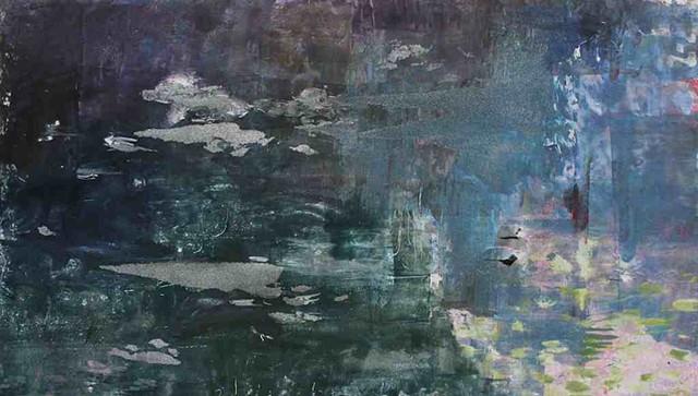 Pond Reflections Monoprint 13'' x 23''