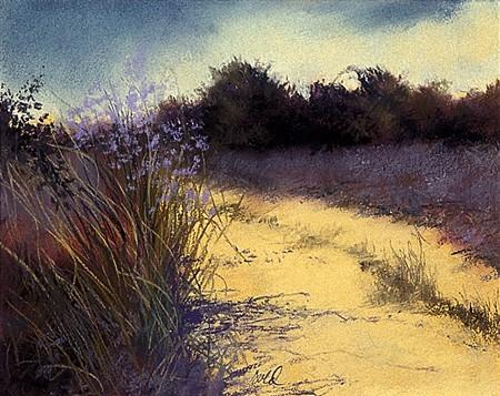 """Path, Lavender Flowers Pastel 9"""" x 11"""""""
