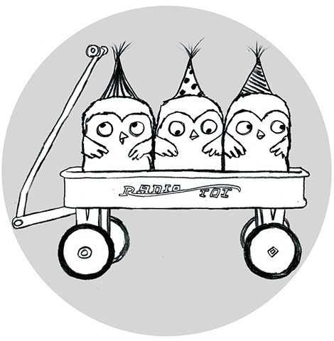 birds, owls, owlets, wagon, children's book illustration