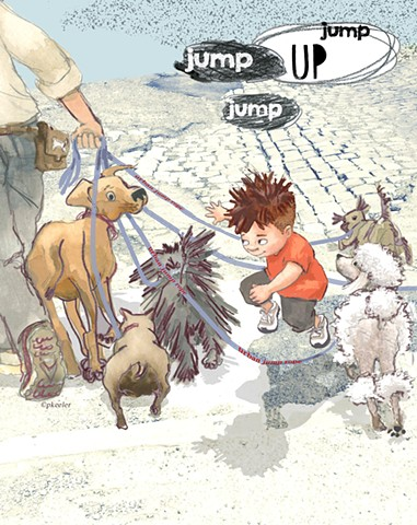 jump rope, urban, dogs, city street, patriciakeeler-author-illustrator.com