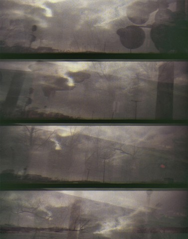 lomokino film 35mm movie strip, train window images, digital photgraph printed on paper and tarlatan