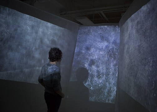 waxed paper environment installation suspended multichannel video projection diorientation