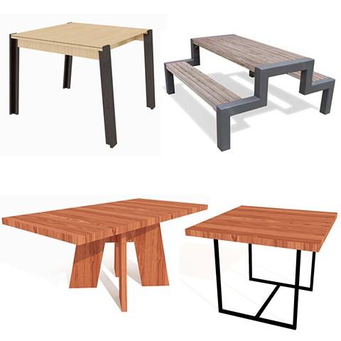 Furniture renders in SketchUp.