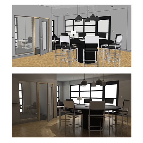 Bishop Keller Office remodel for client drawn in SketchUp (top) and rendered in SU Podium (bottom).