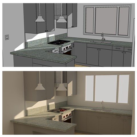 Kitchen remodel for client drawn in SketchUp (top) and rendered in SU Podium (bottom).