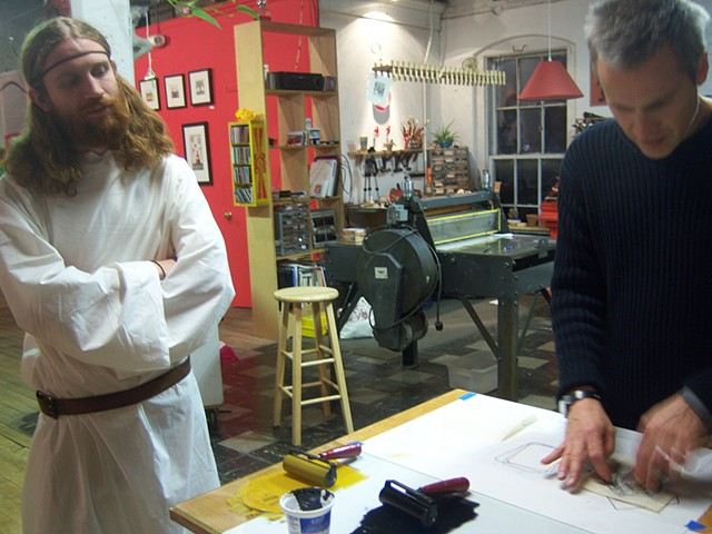 Relief block printing demonstration, Dead End II reception
