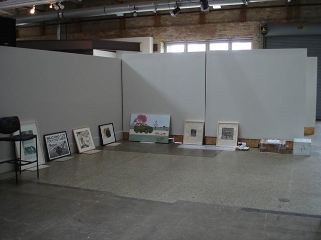 (S)Edition, installation in progress, Monroe Avenue Gallery, Urban Institute for Contemporary Arts
