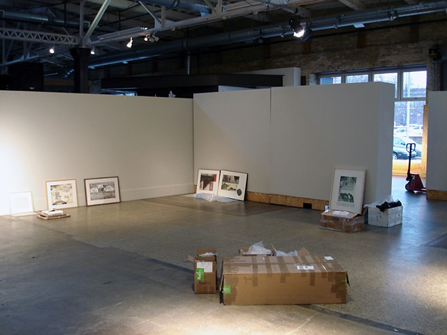 (S)Edition, installation in progress, Monroe Avenue Gallery, Urban Institute for Contemporary Arts